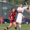 Masco junior Stephen Pease, right, wins a header while being pushed by Newburyport's Zaid Eideh, left, on Tuesday afternoon. David Le/Staff Photo