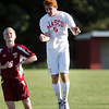 Masco senior captain Demetri DeCoulos wins a header against Newburyport on Tuesday afternoon. David Le/Staff Photo