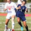 Masco senior Olivia Buonopane, left, shields the ball from Triton freshman Rylee Culverwell, right, on Friday afternoon. David Le/Staff Photo