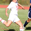 Masco senior captain Leah Connerty lines up a shot from outside the box against Triton on Friday afternoon. David Le/Staff Photo