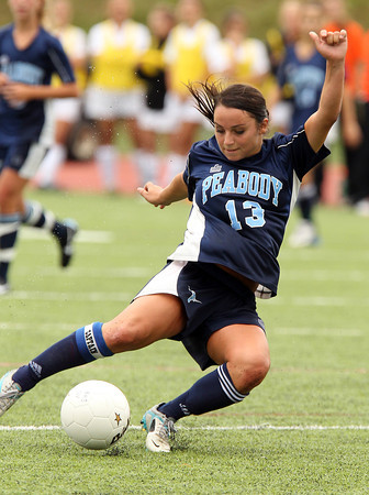Peabody senior striker Victoria Digiacomo played well for the Tanners on Saturday morning against Beverly as she netted the game's lone goal on a penalty kick. David Le/Staff Photo