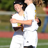 Bishop Fenwick sophomore Jackie Edgett, left, celebrates with freshman Colleen Corcoran, right, after Corcoran notched the second Crusaders goal against St. Mary's on Wednesday afternoon. David Le/Staff Photo