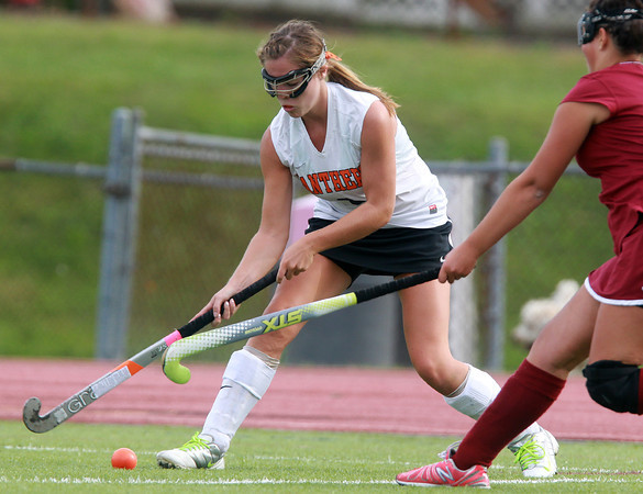Beverly: Beverly senior Mary Cate Flaherty controls the ball in the offensive zone against Gloucester on Monday afternoon. Flaherty led the way for the Panthers, recording a hat trick in the first half of play, as Beverly defeated Gloucester 7-0. David Le/Salem News