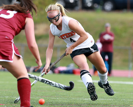 Beverly: Beverly senior captain Nicole Woods unleashes a hard shot that beat the Gloucester goalie in the first half of Monday afternoon's game. David Le/Salem News