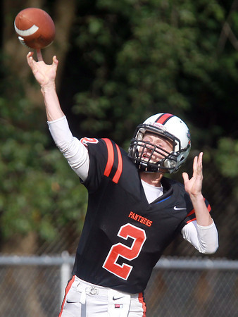 Beverly: Beverly senior quarterback Nick Manthorne launches a pass deep downfield intended for senior running back Isiah White. White rushed for 83 yards on 14 carries and also caught two passes for 83 yards, including a 64-yard touchdown. David Le/Salem News
