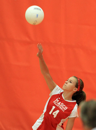 Beverly: Masco freshman Brittany Gotts serves against Beverly on Monday afternoon. David Le/Salem News