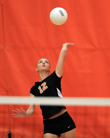 Beverly: Beverly's Bridget Keaton serves against Masco on Monday afternoon. David Le/Salem News