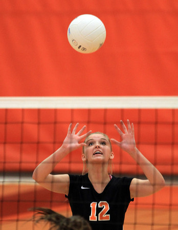 Beverly: Beverly High School's Bridget Keaton lofts a pass over to a teammate while taking on Masco in a non-league match on Monday afternoon. David Le/Salem News