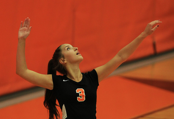 Beverly: Beverly's Alex Kelliher concentrates while serving against Masco in non-league action on Monday afternoon. David Le/Salem News
