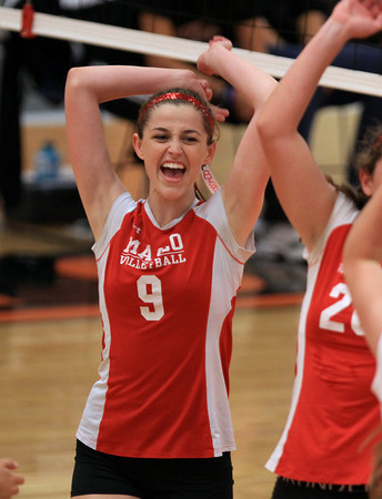 Beverly: Masco senior captain Kate Barry celebrates a point against Beverly on Monday afternoon. David Le/Salem News