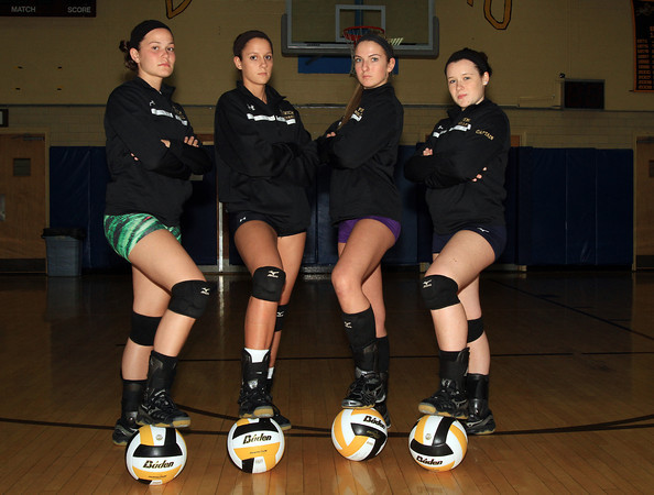 Peabody: Bishop Fenwick senior captains Gianna Pizzano (Outside Hitter), Kate Lipka (Middle Blocker), Jen Crovo (Outside Hitter), and Tessa McLaughlin (Setter), have led the Crusaders to a 8-1 record on the 2013 campaign. David Le/Salem News