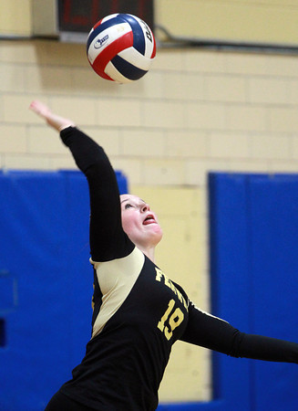 Peabody: Bishop Fenwick senior captain Tessa McLaughlin aces a serve against Archbishop Williams on Tuesday afternoon. David Le/Salem News