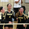 Peabody: Bishop Fenwick junior Alexis Bedard (12), senior capitans Tessa McLaughlin (19), Kate Lipka (4), and Jen Crovo (7), and junior Madison Camelo (3) celebrate a point against Archbishop Williams on Tuesday afternoon. David Le/Salem News