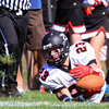 Swampscott: Marblehead senior Jeremy Gillis makes an all out diving effort, but cannot hang onto a pass from quarterback Matt Millett. David Le/Salem News
