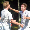 Danvers: St. John's Prep senior Liam Welch, right, celebrates his first half goal with teammate Harry Cusack, on Wednesday afternoon. David Le/Salem News