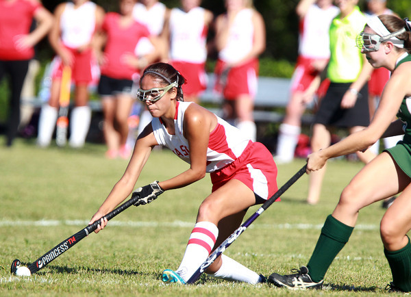 Boxford: Masco senior captain Julianna Kostas fires a shot on net while being pressured by a Pentucket defender on Friday afternoon. David Le/Salem News
