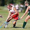 Boxford: Masco senior forward Dana Balek carries the ball up the right side of the field while being pursued closely by a Pentucket defender. David Le/Salem News