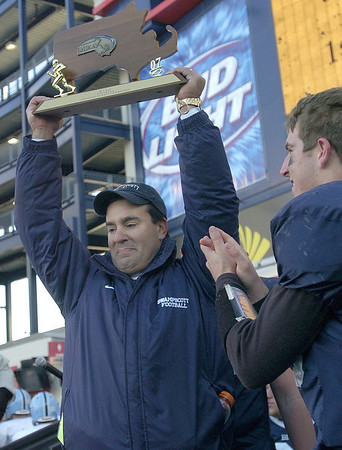 Steve Dembowski has won one Super Bowl title, leading the Big Blue past Medfield in 2007. He has also won four NEC titles (2002, 2003, 2007, 2008). Staff file photo.