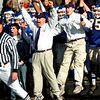 Danvers: St. Johns Prep Football coach, Jim O'Leary, middle, celebrates after Andrew Long blocked a game winning field goal attempt in the fourth quarter with under 15 seconds remaining to play to defeat Xaverian High School to advance to the playoffs Tuesday night against Everett High School.   (Photo by Jim Daly/Salem News). Thursday, November 27, 2003