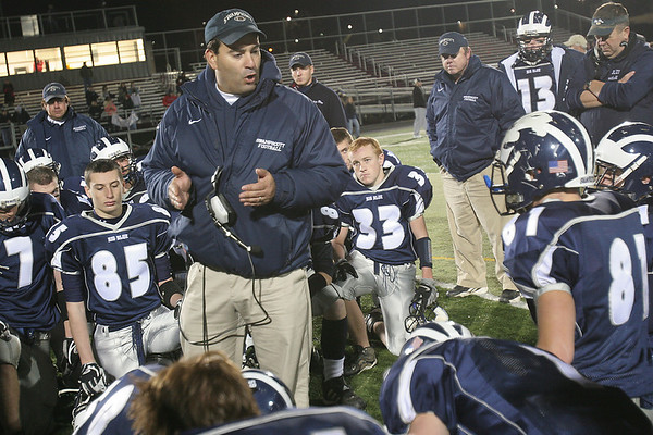Swampscott High football coach Steve Dembowski has made a huge impact on the local football scene by bringing the spread offense to his team in 2001. His Big Blue teams have averaged over 25 points per game during his tenure while allowing just 18. Matthew Viglianti/Staff photo.