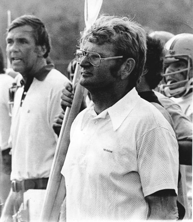 Ipswich High coaches Jack Welch, right, and Ken Spellman were together for more than three decades, including this game in the late 1970s.