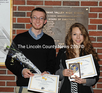 Medomak Valley indoor track and field awards were presented to JP Lobley, Amanda Young and Nicole Nicholls (not pictured)