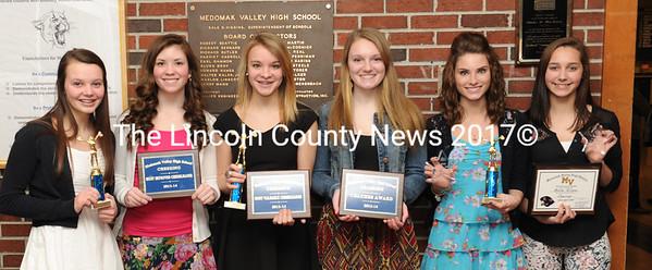 Medomak Valley cheeleaders receiving awards were Stephanie Hill, Hannah Smith, Cassidey Dever, Olivia Ryan, Shania Melvin, and Ashlee Wilson.