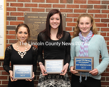 Medomak Valley girls basketball awards were presented to Brooke Benedict, Hannah Marks and Sophie Cohen.