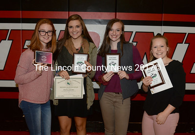 Wiscasset girls soccer awards were presented to Sarah Foley (Sportsmanship Award, MVC Honorable Mention, MVC Academic), Lindsey Gordon (Most Improved Player, MVC 2nd Team, MVC Academic), Grace Webber (MVC 1st Team, MVP, MVC Academic, selected to United Coaches of Maine Senior Bowl), and Maeve Blodgett (MVC Academic, MVC 2nd Team, Coaches Award). Missing from the photo are Arie Mills (MVC Academic, MVC Honorable Mention, Leah Potter (MVC ACademic), and Vanessa Dun (MVC Academic). (Paula Roberts photo)