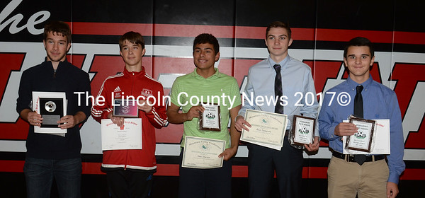 Wiscasset boys soccer awards were presented to James Hodson (Captains' Award), John Hodson (Sportsmanship Award), Sam Strozier (MVP, MVC Honorable Mention), Max Sampson (Coaches Award, MVC 2nd Team), and Matt Eckerty (Most Improved Player). Missing from the photo is Matt Smith (MVC Honorable Mention). (Paula Roberts photo)