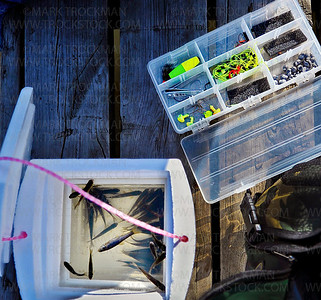 The Barber's tackle box and minnows for bait rests on the dock of a pond at Wayzata Beach Sunday, April 1, 2012.