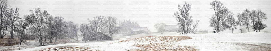 A panoramic photograph of the Windsong Farm Golf Club club house and other out buildings seen from the fairway on the 18th hole during a fast moving snow squall Friday, Jan. 27, in Independence.