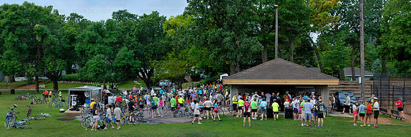 A multiple photograph panorama shows the crowd gathered on Excelsior Commons Park, the first rest stop on the Tour de Tonka bicycle ride Saturday, August 4, on the shore of Lake Minnetonka.