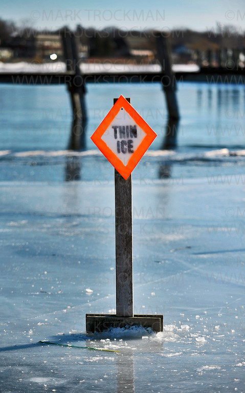 2012 and the Winter-that-wasn't meant dangerous lake ice conditions from northern to southern Minnesota.  This sign, and others like it on Wayzata Bay warned Chilly Open participants to keep to the relative safety of thicker ice farther from shore during the city of Wayzata's annual, wildly popular party.