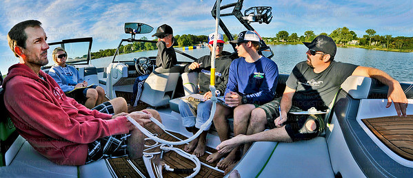 10,000 Lakes Open: World Series of Wake Surfing judges, from left, Scott Culp, Angie Viland, boat driver Chris Bank, Brandon Tolliver, Andy Weigman and Todd Gaughan aboard a 2013 Super Air Nautique G23 boat on Long Lake Friday, August 17.