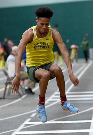 Missouri Southern's AJ Broadus competes in the triple jump during the Lion Open indoor meet on Saturday at Leggett & Platt.<br /> Globe | Laurie Sisk