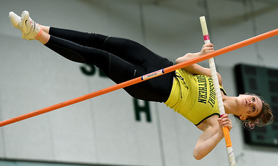 Missouri Southern's Samantha Petry  competes in the pole vault during the Lion Open indoor meet on Saturday at Leggett & Platt. Globe | Laurie Sisk
