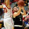 Missouri Southern's Parker Jennings (3) tries to score as Pittsburg State's Christian Edmondson (33) defends during their game on Saturday at John Lance Arena.<br /> Globe | Laurie SIsk