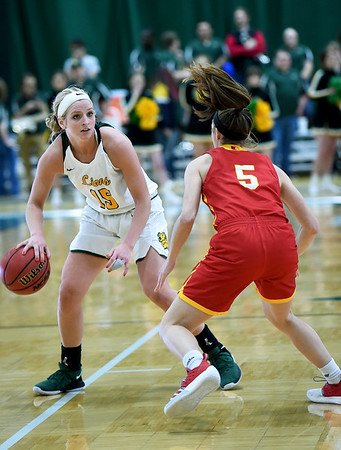 Missouri Southern's Chelsey Henry (15) looks to get past Pittsburg State's Josie Fortney (5) during their game on Tuesday night at Leggett & Platt.<br /> Globe | Laurie SIsk