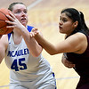McAuley's XXXX XXXX (45) looks to score as Wheaton's Giovanna Hinojosa defends during their championship game of the Warrior Classic on Saturday at McAuley High School.<br /> Globe | Laurie Sisk