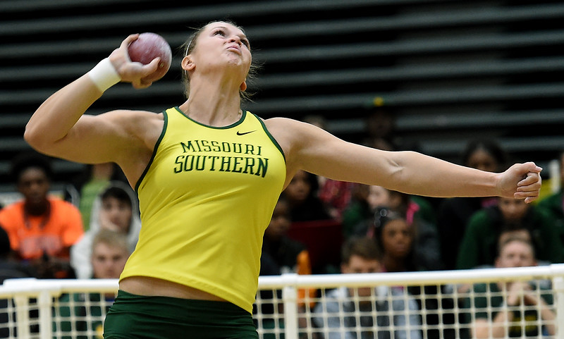 Missouri Southern's Desirea Buerge competes in the shot put during the Lion Open indoor meet on Saturday at Leggett & Platt. Globe | Laurie Sisk