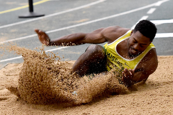 Missouri Southern's Brendan Watkins competes in the triple jump during the Lion Open indoor meet on Saturday at Leggett & Platt.<br /> Globe | Laurie Sisk