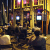 Public viewing in front of a restaurant