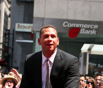 Alex Rodriguez (A-Rod) at the MLB All-Star parade in Manhattan July 2008.