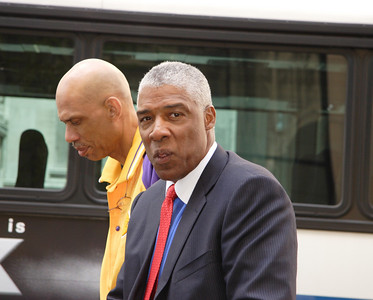 Kareem Abdul Jabbar and Julius (Doctor J) Erving in Manhattan outside of the NBA store.
