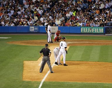 Derek Jeter on first base at the old Yankee Stadium.