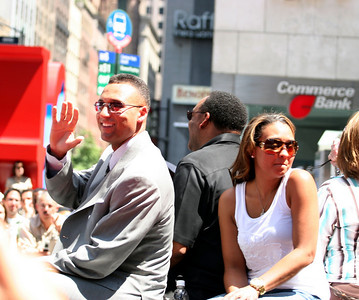 Derek Jeter with his father and sister at the MLB All-Star parade in Manhattan, July 2008.