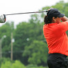 Globe/Roger Nomer<br /> Debbie Doss, Joplin, hits a tee shot while competing in Monday's Horton Smith Tournament in Carthage.