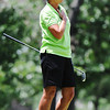 Globe/T. Rob Brown<br /> Pam Borland of Carthage, part of the Joplin area team, watches her ball fly from the tee Tuesday morning, June 18, 2013, during the Horton Smith women's golf tournament at Briarbrook Country Club in Carl Junction.