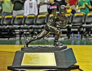 This is a close-up shot of the Heisman Trophy as it was on display during the recognition ceremony at the Ferrell Center.